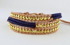 Wikkelarmbanden - Leren triple herringbone wrap d.blauw / goud - Een uniek product van Unycq op DaWanda