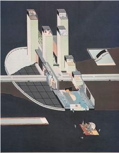 hilllllllllllll: generalnotes: Ren Koolhaas: Welfare Palace Hotel 1976 our friend ren Orthographic Drawing, Rio, Roosevelt Island, Rem Koolhaas, Famous Architects, Palace Hotel, City Landscape, 3d Visualization, Architecture Drawings