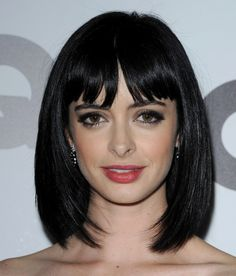 Graceful Full Bang Straight Fashion Medium Capless 100 Percent Human Hair Wig For Women Lob Hairstyle, Pretty Hairstyles, Wig Hairstyles, Hair Color Ideas For Brunettes Short, Best Lace Front Wigs, Hair Junkie, Krysten Ritter, Bob Haircut With Bangs, Girls With Black Hair
