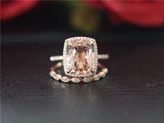 Unique Wedding Ring Set 14K Rose Gold 10x12mm Long Cushion Cut Morganite Engagement Ring & Diamond Wedding Band Rose Gold Morganite Ring Set by LeeCityDesign on Etsy https://www.etsy.com/listing/467806233/unique-wedding-ring-set-14k-rose-gold