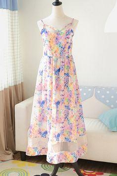 Floral Print Paneled Dress OASAP.com