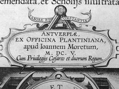 Detail of Plantin's engraved title page,1605, by History of the Book / Typography, Amsterdam