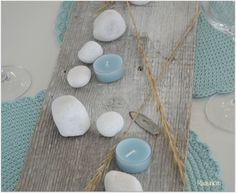 Partylite kynttilät, kivet ja vanha lauta-dercor your table in the kitchen Marimekko, Sweet Home, House Beautiful