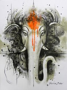 Make this Ganesha Chathurthi 2020 special with rituals and ceremonies. Lord Ganesha is a powerful god that removes Hurdles, grants Wealth, Knowledge & Wisdom. Ganesha Tattoos, Shiva Tattoo, Shri Ganesh, Ganesha Art, Lord Shiva, Indian Gods, Indian Art, Elefante Tattoo, Lord Ganesha Paintings