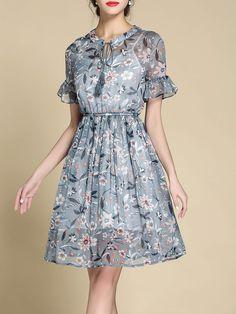 #AdoreWe #StyleWe Midi Dresses❤️Designer Riwins Light Blue Floral A-line Keyhole Frill Sleeve Midi Dress - AdoreWe.com