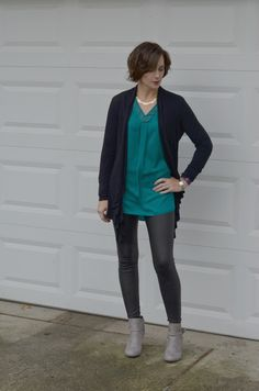 scuba leggings + emerald tunic + black boyfriend cardigan + wedge ankle boots in stone - womens fashion Fall Fashion Outfits, Fall Fashion Trends, Autumn Fashion, Womens Fashion, Wedge Bootie, Wedge Ankle Boots, Boyfriend Cardigan, Colorful Shoes, My Wardrobe