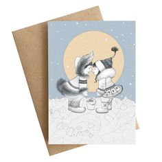 FREE SHIPPING Eskimo Kiss / love greeting card / winter by RUTA13