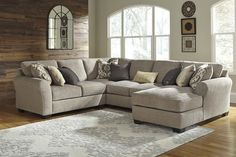 RAF Chaise Sectional by Benchcraft. Get your Pantomine - Driftwood 5 Pc. RAF Chaise Sectional at Railway Freight Furniture, Albany GA furniture store. Cuddler Sectional, Sectional Ottoman, Sectional Furniture, Recliner, U Shaped Sectional Sofa, Sectional Sofa With Chaise, Small Sectional, Buy Sofa, Reclining Sectional