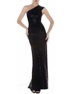 Herve Leger Gown Lydia Woodgrain Foil-Print One Shoulder Black Dress