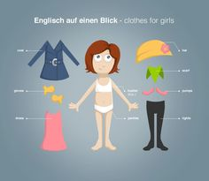 """Englisch lernen mit """"Englisch auf einen Blick"""": clothes for girls Vokabeln (http://magazin.sofatutor.com/schueler/) Anziehpuppen zum Ausdrucken"""