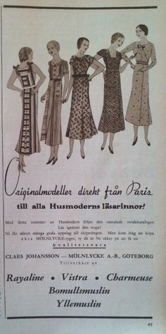 Ad from Swedish textile mill Mölnlycke AB, from Mölnlycke outside of Gothenburg. 1933