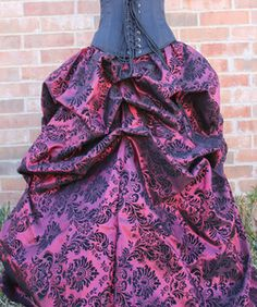 Image of Damask Belle Skirt Deep Red Burgundy with Black