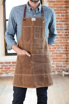Image result for denim apron with leather straps