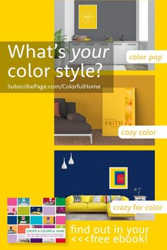 Which are you: color pop, cozy color, or crazy for color?  Download the free ebook Create a Colorful Home and discover your own personal color comfort level.   I'll teach you a few color wheel basics and inspire you with the work of 14 female makers, 12 gorgeous color schemes, and 39 stunning rooms.  What are you waiting for?   Get your copy and get ready to add color to your home and joy to your life!SubscribePage.com/ColorfulHome Yellow Kids Rooms, Yellow Nursery, Accent Colors, Wall Colors, House Colors, Yellow Home Decor, Kid Rooms, Colorful Furniture, Color Pop