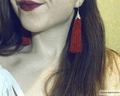 DETAILS ░ Tassel earrings, silk earrings, long earrings, bunch earrings, silver earrings, red earrings, red tassels earrings, fancy earrings, festive earrings, tassel silk earrings, thread earrings, scarlet earrings, cascade earrings, red tassels, earrings with tassels, drop earrings,