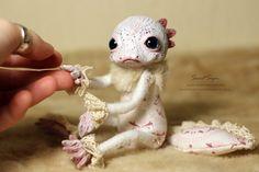 Axolotl OOAK posable doll gift spirit fantasy creature fairy cute art kawaii soul animal magic spring pink white love adorable salamander