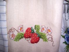Geschirrtuch Erdbeerborte-X-stich