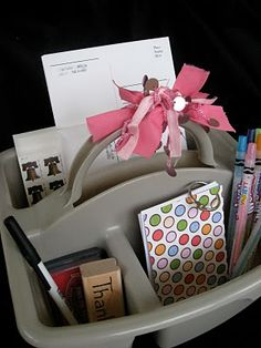 Thank You Note Tote--a great way to motivate kids to write thank yous.  All supplies in one spot.