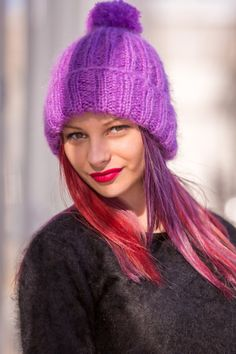 Made to order Brand new hand knitted fluffy and fuzzy winter hat The same item may be ordered in di