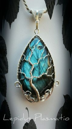 Sterling silver wire wrapped Labradorite tree of life pendant by Lepidus Plasmatio