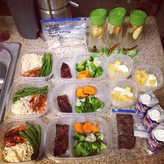 My weekly meal prep until Thursday! Three breakfast (my oatmeal mix of oats, hemp seeds, flaxseeds, nuts, and craisins); three lunches, three dinners, three protein shakes, three homemade energy bars and three desserts of cottage cheese and pineapples.