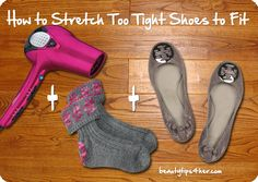 "How to stretch tight shoes.. When ""wearing them in"" is too painful, here's a shortcut to avoid the pinch.. #shoes , #pinning"
