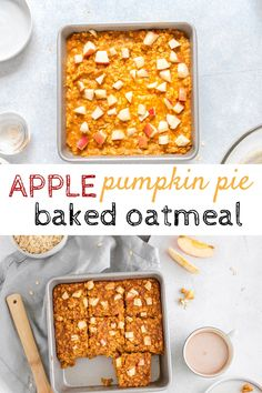Apple pumpkin pie baked oatmeal is the best of both worlds - a combination of pumpkin and apple. The best healthy fall oatmeal recipe. #bakedoatmeal #pumpkinoatmeal #pumpkinecipes #appleoatmeal #applerecipes Pumpkin Pie Oatmeal, No Bake Pumpkin Pie, Apple Oatmeal, Apple Breakfast, Breakfast Bake, Baked Oatmeal Recipes, Apple Recipes, Breakfast Options, Breakfast Recipes