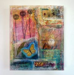 Butterfly Mixed Media Collage Painting. Cherish Wall Art Original Inspirational Artwork. $230.00, via Etsy.