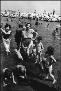ITALY. Naples. 1948. A Mother with her children....This pic. reminds me of the stories my mom told me of when she was a little girl and when to the beach....