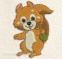 Free Embroidery Designs, Cute Embroidery  squirrel with leaf