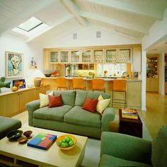 Palo Alto ranch with exposed rafters Home Renovation, Home Remodeling, Living Area, Living Spaces, Living Room, Ranch House Remodel, Sweet Home, 1950s House, Upper Cabinets