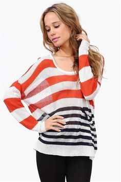 Fall Striped Sweater in Orange.