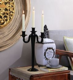 Buy Artelier Black Glass Candle Stand  Online: Shop from wide range of Candle Holders Online in India at best prices. ✔Free Shipping✔Easy EMI✔Easy Returns