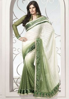Light Green and Ivory Saree  don't like the blouse though