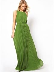 European Ladies Elegant Pleated Lacing Ankle-length Sleeveless Chiffon Plus Size Petite Maxi Dress