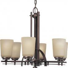 Progress P4213-88 - Six Light Heirloom Etched Light Topaz Glass Up Chandelier