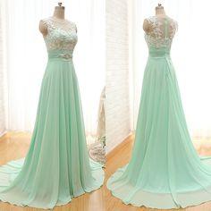 Scoop Neck Bridesmaid Dresses with Lace Appliques, Elegant