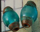 Ancient Roman Glass Handmade Lampwork Beads in Turquoise with Patina