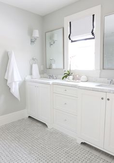 Gray marble basketweave floors    Studio McGee paint colors are BM moonshine & simply white