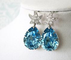 Swarovski Aquamarine blue Crystal Teardrop Earrings