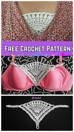 Crochet Diy Crochet Triangle Lace Modesty Panel Free Crochet Pattern - Crochet Triangle Lace Modesty Panel Free Crochet Pattern, nice bra hack you can crochet for ladies V neck top and dress Crochet Diy, Beau Crochet, Mode Crochet, Crochet Gifts, Crochet Bikini, Crochet Lace Tops, Crochet Ideas, Graph Crochet, Ravelry Crochet