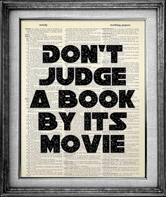 Don't judge a book by its movie poster ( framed )