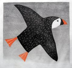 Puffin, japanese woodblock, Lisa Hooper  (Just because it's a puffin :)
