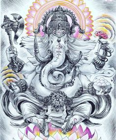 """Ganesha is defined as Omkara or Aumkara, that is """"having the form of Om (or Aum). In fact, the shape of his body is a copy of the outline… Arte Ganesha, Lord Ganesha, Lord Shiva, Shri Ganesh, Ganesh Tattoo, Hindu Tattoos, Symbol Tattoos, Buddha Tattoo Design, Ganesha Tattoo"""