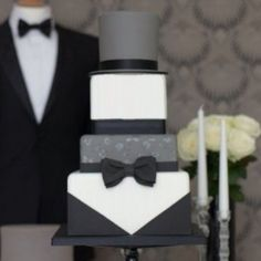 Tuxedo design wedding cake. Perhaps there can be two wedding cakes. One for the groom and one for the bride.
