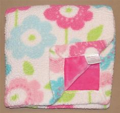 Little Miracles White Sherpa Pink Velour Blue Green Flowers Baby Blanket Costco #LittleMiracles