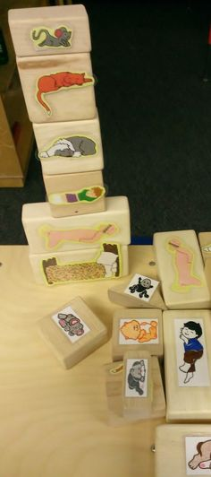 The Napping House blocks. Print outs of the story characters and tapped onto our wood blocks. Idea created Lindsey Vickers and photo taken by Ray Chavez Preschool Books, Kindergarten Literacy, Early Literacy, Preschool Classroom, Preschool Ideas, Language Activities, Literacy Activities, Literacy Stations, The Napping House