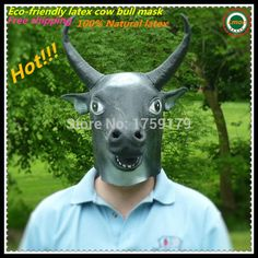 Hot selling latex full head king mask new pretty vivid rubber gray cow bull mask for party halloween party animal mask