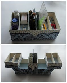 Box with trays. Use purse handle for better handle stability? Cardboard Paper, Cardboard Furniture, Cardboard Crafts, 3d Paper Crafts, Diy Arts And Crafts, Diy Crafts, Cardboard Organizer, Altered Boxes, Sewing Box