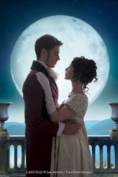 Inspiration for Christine and Jasper  Lee Avison young regency couple silhouetted by the full moon Couples